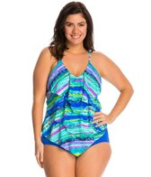 Ceeb Plus Size Key Lime Ruffle Tankini Top