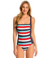Tommy Hilfiger Slide Stripe Square Neck Tank One Piece Swimsuit
