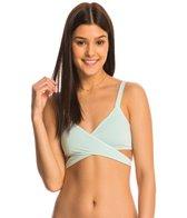 B.Swim Solid Strap Wrap Bikini Top