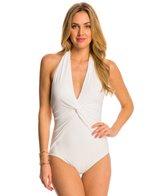 Michael Kors Swimwear Draped Solids Deep V-Twist Halter One Piece Swimsuit