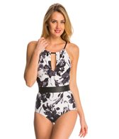 Carmen Marc Valvo Caribbean Breeze Elizabeth High Neck One Piece Swimsuit