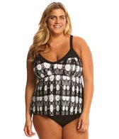 Sunsets Plus Size Venetian Dream Tunic Tankini Top (E/F Cup)