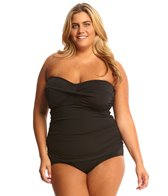 Sunsets Plus Size Solid Shirred Bandeau Underwire Tankini Top (E/F Cup)