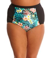 Sunsets Plus Size Tropical Oasis Retro High Waist Bikini Bottom