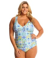 Sunsets Plus Size Seville Shirred One Piece Swimsuit