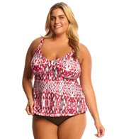 Sunsets Plus Size Veranda Tunic Tankini Top (D/DD Cup)