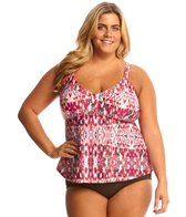 Sunsets Plus Size Veranda Tunic Tankini Top (E/F Cup)