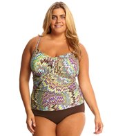 Sunsets Plus Size Sunburst Sweetheart Shirred Tankini Top (D/DD Cup)