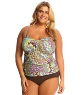 Sunsets Plus Size Sunburst Sweetheart Shirred Tankini Top (E/F Cup)