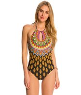 Trina Turk Swimwear Moroccan Medallion High Neck One Piece Swimsuit