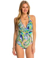Trina Turk Swimwear Nomad Paisley Plunge Neck One Piece Swimsuit