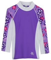 Tuga Infant Girls' UPF 50+ Plumeria Passion Shoreline L/S Rash Guard (6mos-18mos)