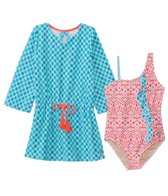 Cabana Life Girls' UPF 50+ Coral Seas One Piece Swimsuit & Terry Cover Up Set (2T-6X)