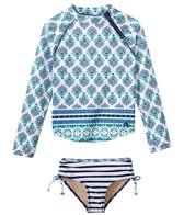 Cabana Life Girls' UPF 50+ Coastal Crush Rashguard Swim Set (2T-6X)