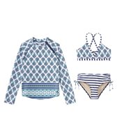 Cabana Life Girls' UPF 50+ Coastal Crush Bikini Rash Guard Set (7-14yrs)