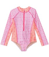 Cabana Life Girls' UPF 50+ Spring Blooms One Piece Rashguard (2T-6X)
