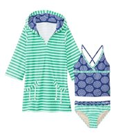 Cabana Life Girls' UPF 50+ Nautical Knots Two Piece Swimsuit & Terry Cover Up Set (2T-6X)