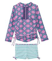 Cabana Life Girls' UPF 50+ Azalea Shores Rashguard Swim Set (2T-6X)
