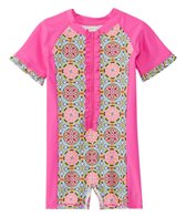 Cabana Life Girls' UPF 50+ Turkish Rose S/S Rashguard Onesie (6-24mos)