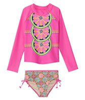 Cabana Life Girls' UPF 50+ Turkish Rose Rashguard Swim Set (2T-6X)