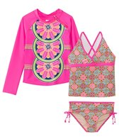 Cabana Life Girls' UPF 50+ Turkish Rose Tankini Rash Guard Set (7-14yrs)