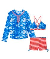 Cabana Life Girls' UPF 50+ Oceana Bikini Rash Guard Set (7-14yrs)
