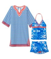Cabana Life Girls' UPF 50+ Oceana Two Piece Swimsuit & Terry Tunic Set (7-14yrs)