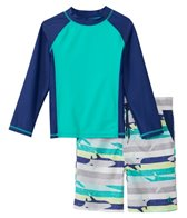 Cabana Life Boys' UPF 50+ Shark Stripe Swim Shorts & Rashguard Set (2T-7yrs)
