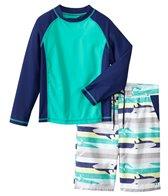Cabana Life Boys' UPF 50+ Shark Stripe Swim Shorts & Rashguard Set (8-14yrs)