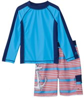 Cabana Life Boys' UPF 50+ Red Anchor Swim Shorts & Rashguard Set (8-14yrs)