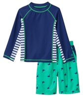 Cabana Life Boys' UPF 50+ Green Marlin Swim Shorts & Rashguard Set (8-14yrs)