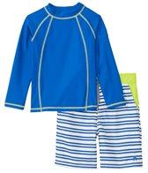 Cabana Life Boys' UPF 50+ Laguna Stripe Swim Shorts & Rashguard Set (2T-7yrs)