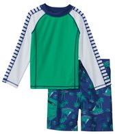 Cabana Life Boys' UPF 50+ Green Palm Swim Shorts & Rashguard Set (8-14yrs)