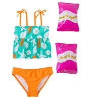 Jump N Splash Toddler Girls' Sassy Seashell Two-Piece Swimsuit w/ Free Floaties (2T-3T)