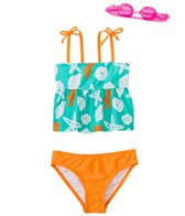 Jump N Splash Girls' Sassy Seashell Two-Piece Swimsuit w/ Free Goggles (4-6X)