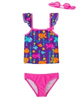 Jump N Splash Girls' Fab Fish Two-Piece Swimsuit w/ Free Goggles (4-6X)