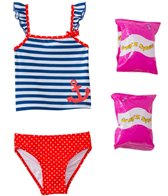 Jump N Splash Toddler Girl's Sweet Sailor Two-Piece Swimsuit w/ Free Floaties (2T-3T)