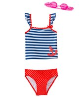 Jump N Splash Girls' Sweet Sailor Two-Piece Swimsuit w/ Free Goggles (4-6X)