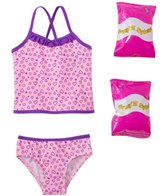 Jump N Splash Toddler Girls' Happy Heart Two-Piece Swimsuit w/ Free Floaties (2T-3T)