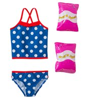 Jump N Splash Toddler Girls' Pretty Polka Dot Two-Piece Swimsuit w/ Free Floaties (2T-3T)