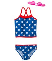 Jump N Splash Girl's Pretty Polka Dot Two-Piece Swimsuit w/ Free Goggles (4-6X)