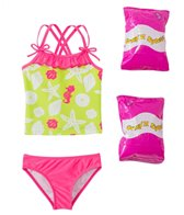 Jump N Splash Toddler Girls' Susie Seashell Two-Piece Swimsuit w/ Free Floaties (2T-3T)