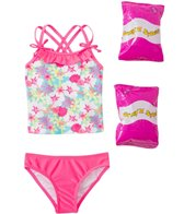 Jump N Splash Toddler Girls' Aloha Flower Two-Piece Swimsuit w/ Free Floaties (2T-3T)