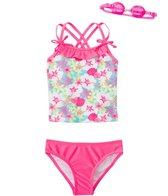 Jump N Splash Girls' Aloha Flower Two-Piece Swimsuit w/ Free Goggles (4-6X)