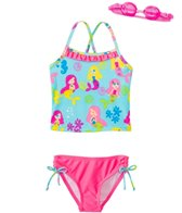 Jump N Splash Girls' Mermaid Party Two-Piece Swimsuit w/ Free Goggles (4-6X)