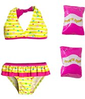 Jump N Splash Toddler Girls' Baby Heart Two-Piece Swimsuit w/ Free Floaties (2T-3T)