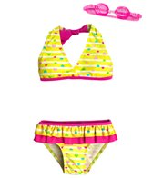 Jump N Splash Girls' Baby Heart Two-Piece Swimsuit w/ Free Goggles (4-6X)