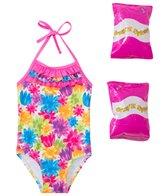 Jump N Splash Toddler Girls' Flower Shower One Piece Swimsuit w/ Free Floaties (2T-3T)