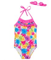Jump N Splash Girls' Flower Shower One Piece Swimsuit w/ Free Goggles (4-6X)
