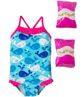 Jump N Splash Toddler Girls' Whale Tale One Piece Swimsuit w/ Free Floaties (2T-3T)